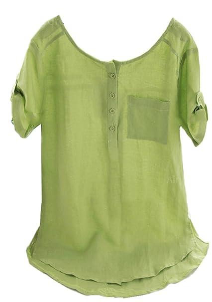 Moda Henry Neck Bolsillos Botones Abotonada Delantera Curved Hem Blusón Blusa Shirt Camisa T-Shirt