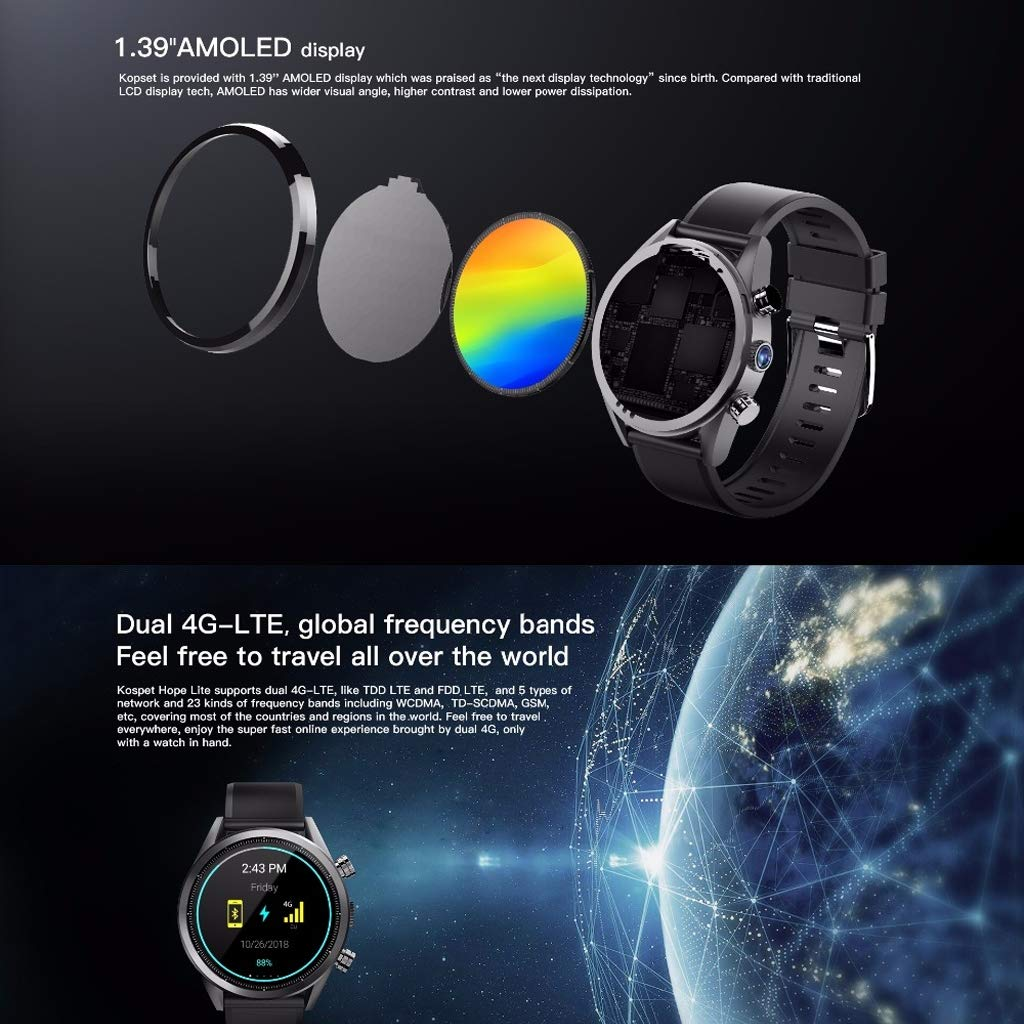 WLPT 4G Smartwatch, Android 7.1 Smartwatch 1GB + 16GB IP67 ...