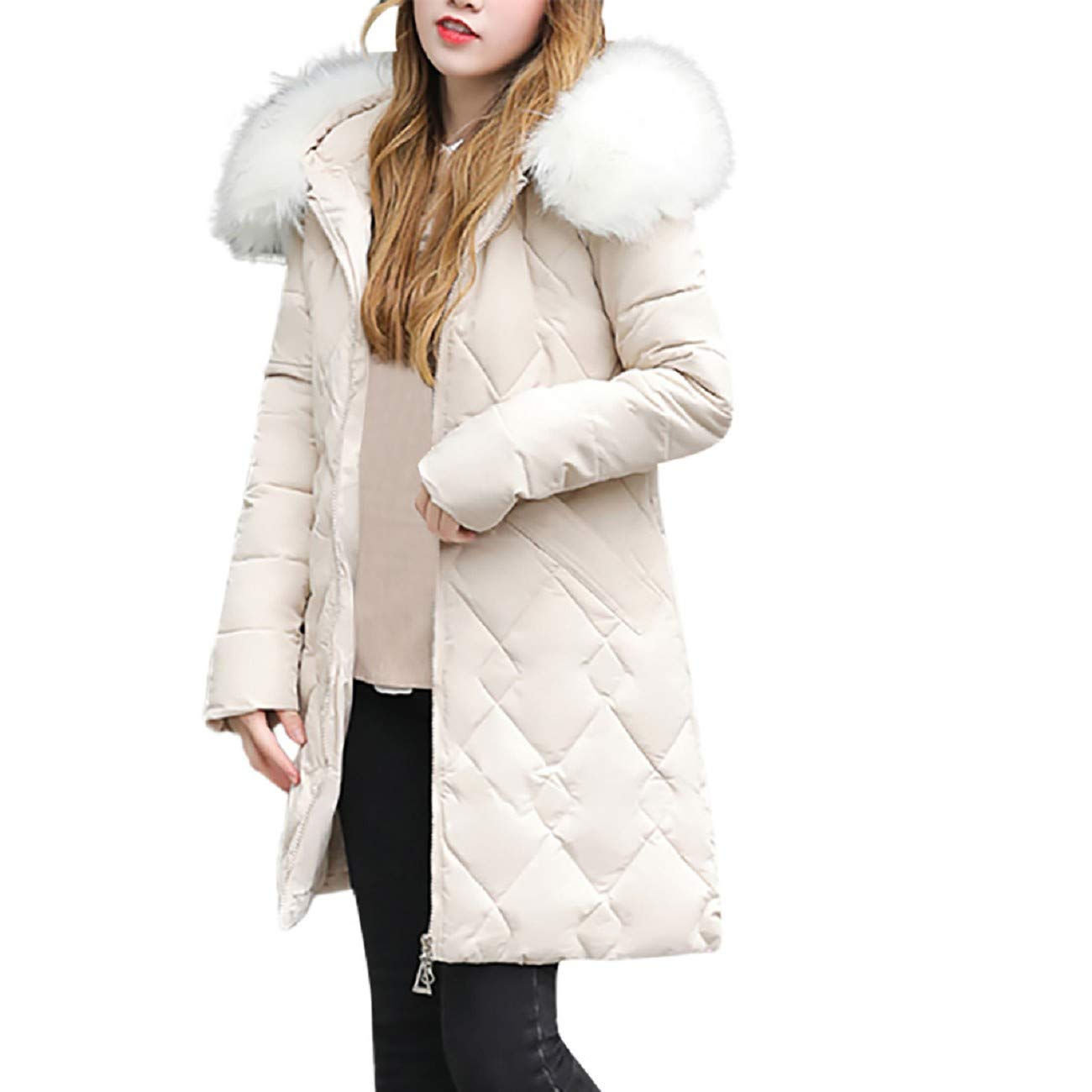 Dasuy Women Winter Warm Coat Stripe Hooded Thick Warm Slim Jacket Long Overcoat