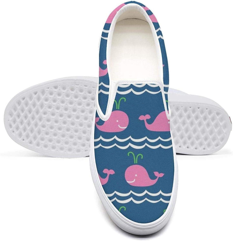 Pink Whale and Wave Pattern Women Flat Bottom Stylish Shoes