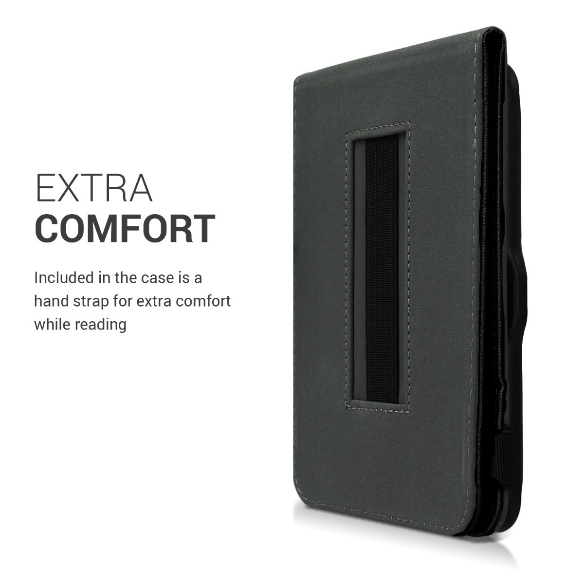 kwmobile Cover for Tolino Vision 1/2 / 3/4 HD - Case with Built-in Hand Strap and Stand in Black by kwmobile (Image #4)