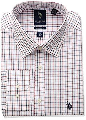 U.S. Polo Assn. Men's Classic Fit Plaid Semi Spread Collar Dress Shirt