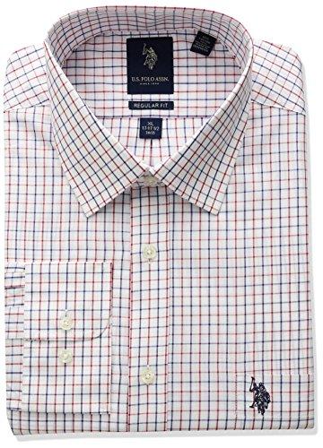 US-Polo-Assn-Mens-Classic-Fit-Plaid-Semi-Spread-Collar-Dress-Shirt