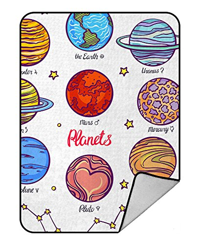 Custom Solar System Planets Funny Education Chart Blanket Crystal Velvet Front and Lambswool Sherpa Fleece Back Throw Blanket 58x80inches by BedBlanket