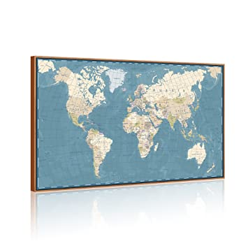 Amazon visual art decor xlarge blue vintage world map canvas visual art decor xlarge blue vintage world map canvas prints atlas framed and stretched map wall gumiabroncs Images