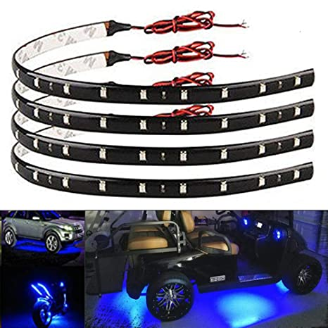 Led Lights For Cars >> Everbright 4 Pack Blue Led Strip Lights For Cars 30cm 5050 12 Smd Waterproof Car Underglow Lights Motorcycles Golf Cart Decoration Led Interior