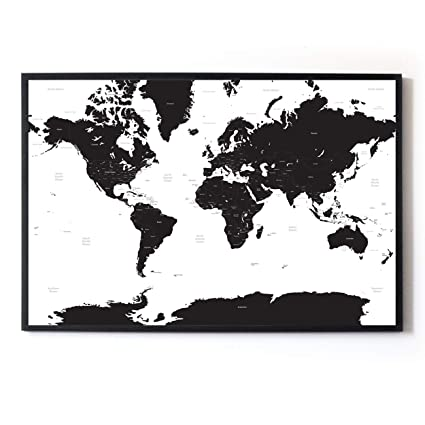 Large A1 White & Black Map of the World Travel Poster