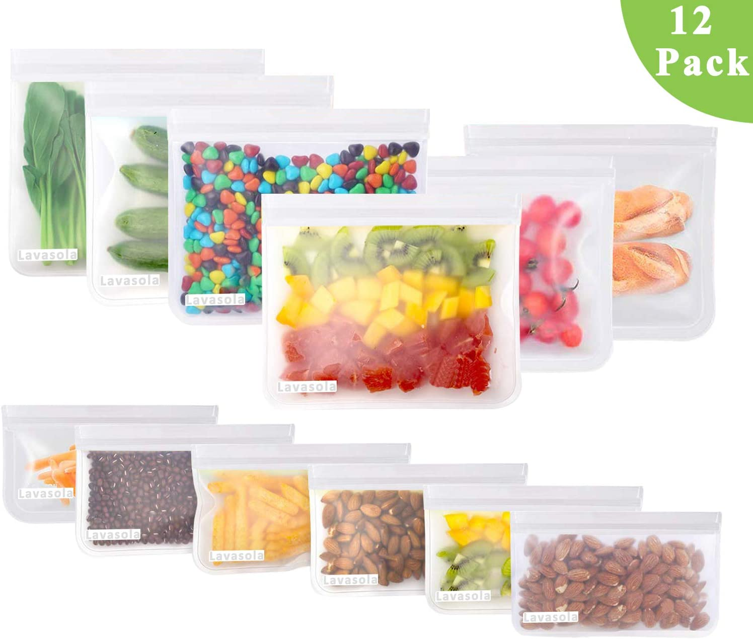 12 Pack Reusable Storage Bags - 6 Reusable Sandwich Bags & 6 Reusable Snack Bags,Motech FDA Grade Freezer Ziplock Bags, Extra Thick Leakproof Lunch Bags for Food Storage Home Travel Organization