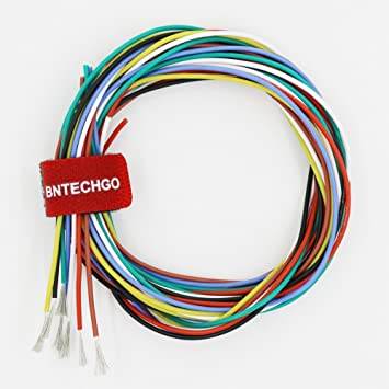 bntechgo 24 gauge silicone wire 14m 7colors 2m black red blue white rh amazon co uk Black to Red White Black Wiring Light Switch Electrical Wiring Red Black and White