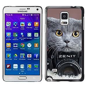 ROKK CASES / Samsung Galaxy Note 4 SM-N910F SM-N910K SM-N910C SM-N910W8 SM-N910U SM-N910 / CUTE BRITISH SHORTHAIR CAT PHOTOGRAPHY / Delgado Negro Plástico caso cubierta Shell Armor Funda Case Cover