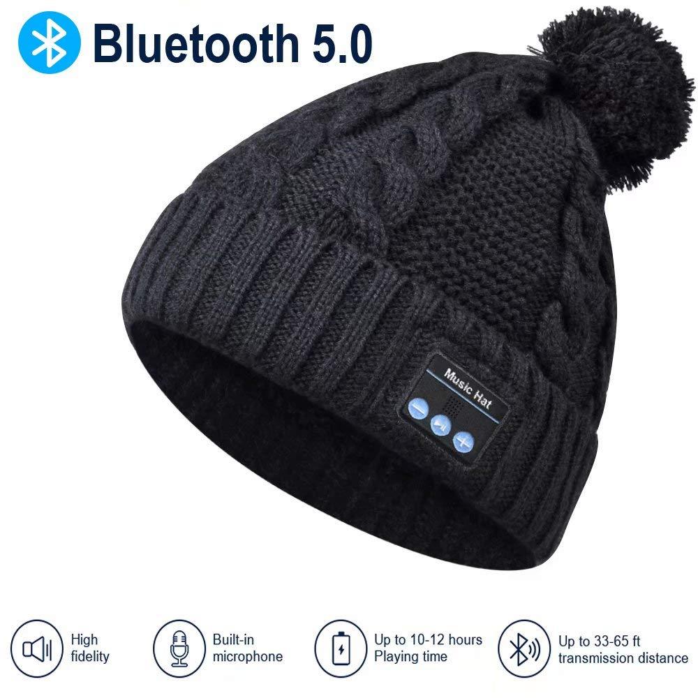 Bluetooth Hat Bluetooth Beanie Hat Women Winter Rib Knitted Bluetooth Hat// Beanie Washable PomPom Bluetooth Beanie Women Gifts for Christmas Fit Outdoor Sport Upgraded Bluetooth 5.0 Winter Music Hat
