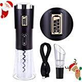 Electric Wine Bottle Opener with Charger, StarryBay Electric Rechargeable Cordless Corkscrew Automatic Wine Opener Kit with Foil Cutter, Battery Level LED Display and Wine Aerator Included - Black