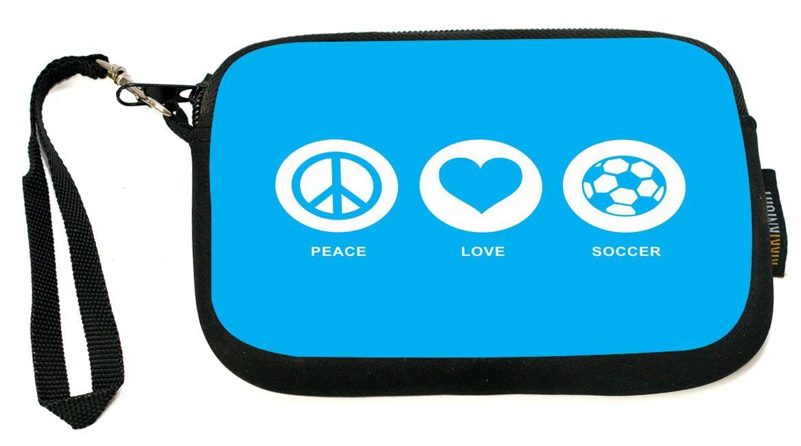 UKBK Peace Love Soccer Sky Blue Neoprene Clutch Wristlet with Safety Closure - Ideal case for Camera, Universal Cell Phone Case etc.