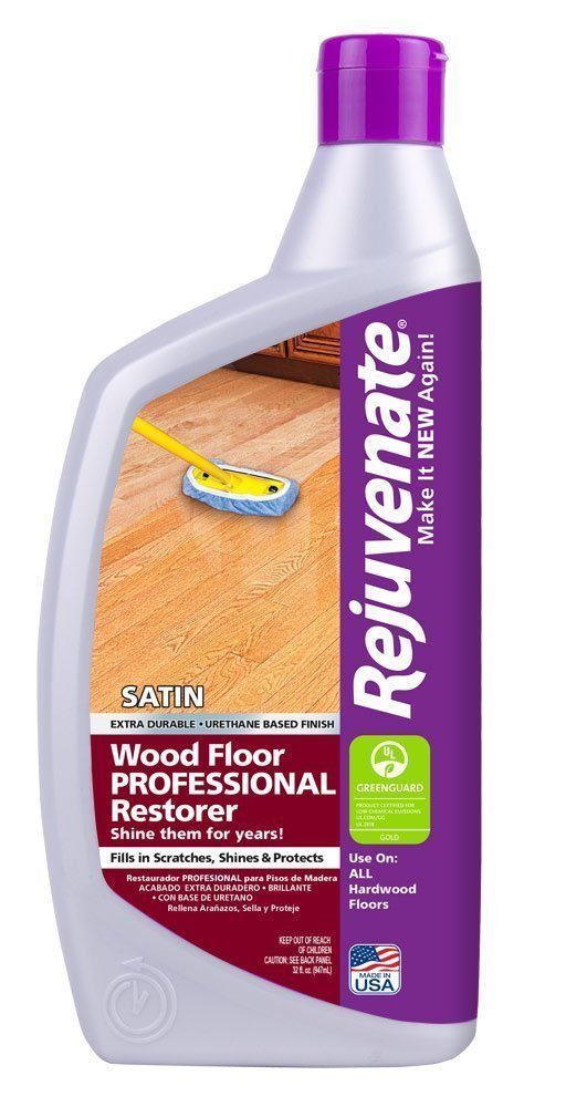 Rejuvenate Professional Wood Floor Restorer with Durable Satin Finish Non-Toxic Easy Mop On Application - 32 Ounces 3-Pack