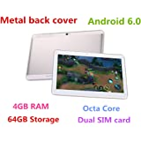 10.1 inch The metal back cover Tablet Android 6.0 GPS Octa Core 2560X1600 IPS Bluetooth RAM 4GB ROM 64GB 13.0 MP 3G Phone Call Tablets PC Dual sim card TYD-108 (Silver)