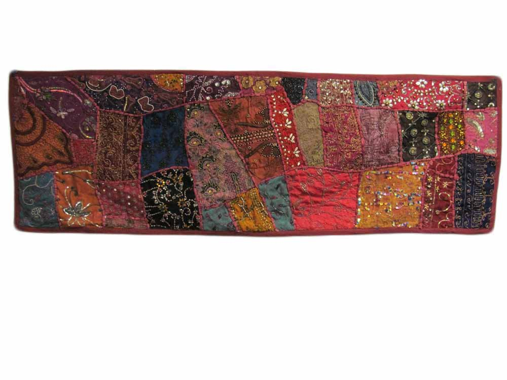 Indian Tapestry Kantha Zari Handmade Vintage Tribal Rajasthani Patchwork Tapestry Table Runner (Red Pink Tones) by Rajasthan Cottage (Image #1)