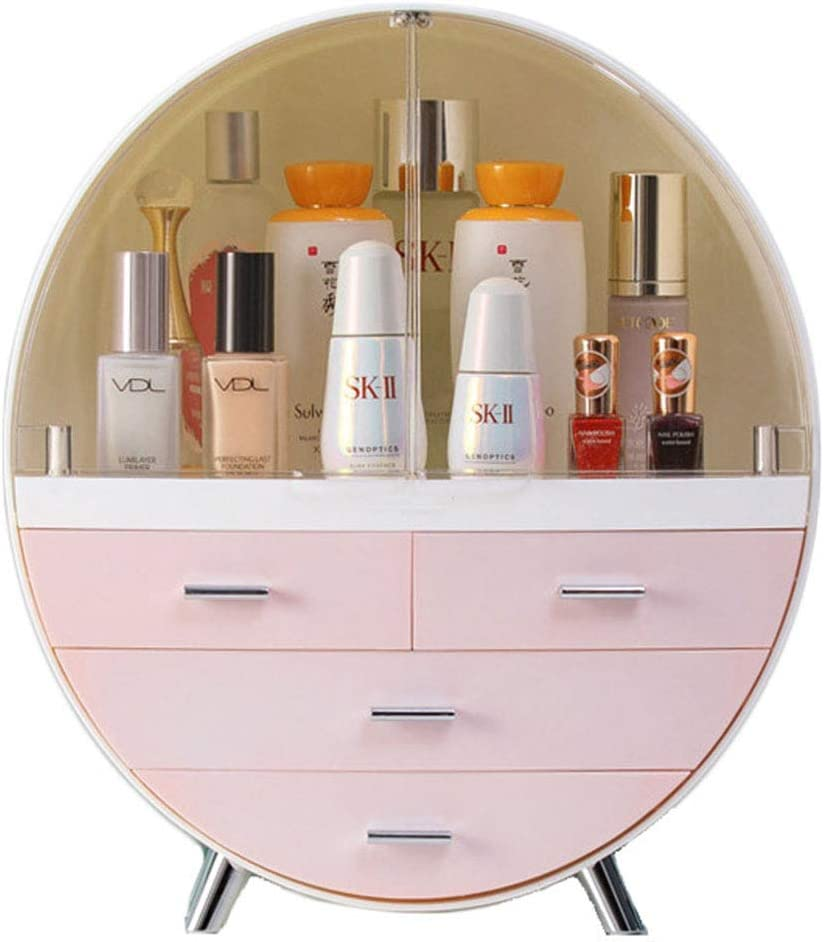 Large Makeup Organizer Desktop Dust-proof Cosmetic Storage Box Easily Organize Your Cosmetics Suitable for Vanity Bathroom Wash Basin (Pink)