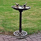 Traditional Weatherproof Pedestal Garden Bird Bath - Bronze