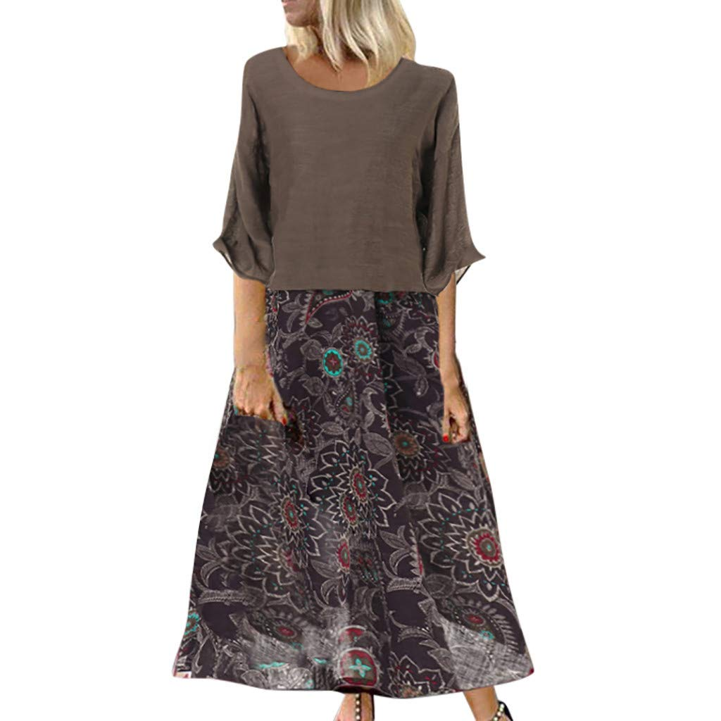 JFLYOU Women Summer Retro O-Neck Loose 3/4 Sleeve Vintage Floral Print Long Dress Fake 2 Piece(Coffee,M)