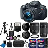 Canon EOS Rebel T5i Digital Camera +18-55mm f/3.5-5.6 IS STM Lens +55-250mm STM Telephoto Zoom Lens + 58mm 2x Lens + 58mm Wide Angle Lens + Flash + UV Filter Kit + 24GB Complete Accessory Bundle
