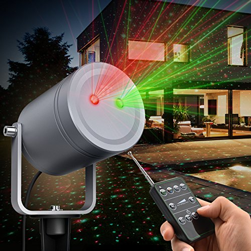 TaoTronics TT-SL209 Christmas Laser Lights Outdoor Halloween, Holiday Decoration, Class Ⅲ Projector with 6 Automated Patterns, Wireless Remote, IP65 Waterproof, Fda Approved