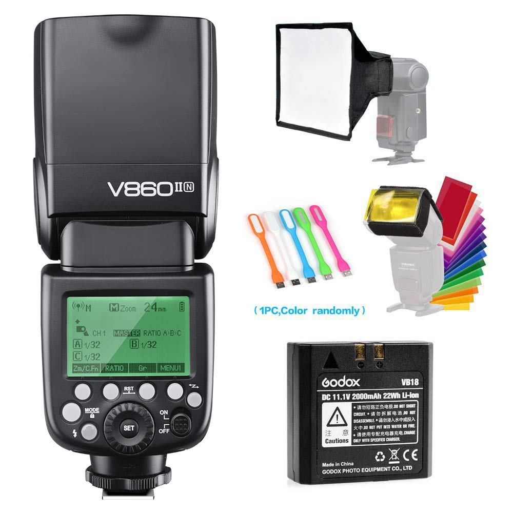 Godox V860II-N I-TTL GN60 2.4G High-Speed Sync 1/8000s Li-ion Battery Camera Flash Speedlite Light Compatible for Nikon Cameras with 15x17cm Softbox & Filter & CONXTRUE USB LED by Godox