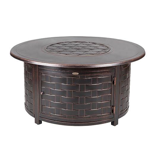 Fire Pit mesa Perissa 19 en. Tejido de aluminio fundido con ...