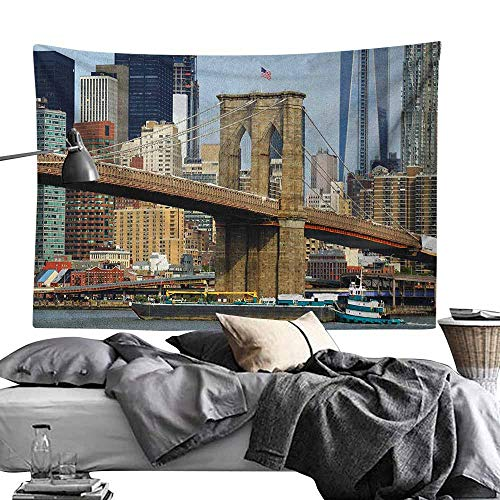 (Maureen Austin Decor Tapestry,Urban,Skyline of Brooklyn New York USA Cityscape Bridge Buildings and River Coastal Scenery, Multicolor Wall Art for Studio Room 60