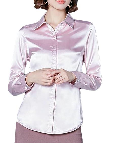 aca8afe9208ecc CRYYU Women Silk Button Down Shirt Long Sleeve Lapel Collar Blouse at  Amazon Women s Clothing store