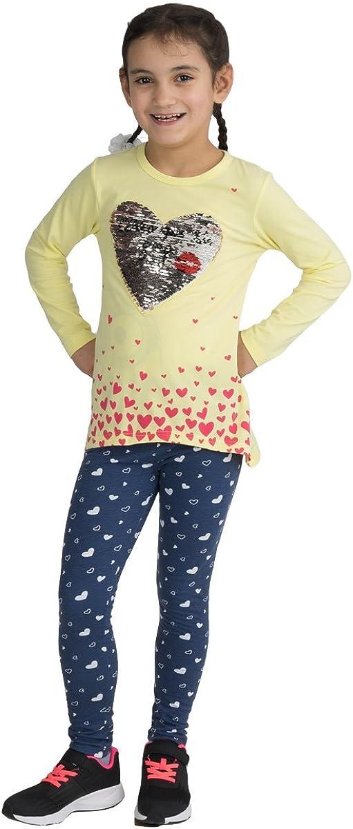 Fashion4Young 3983 Kinder Freizeitanzug Wisch-Herz Wende-Pailletten Langarmshirt Leggings M/ädchen