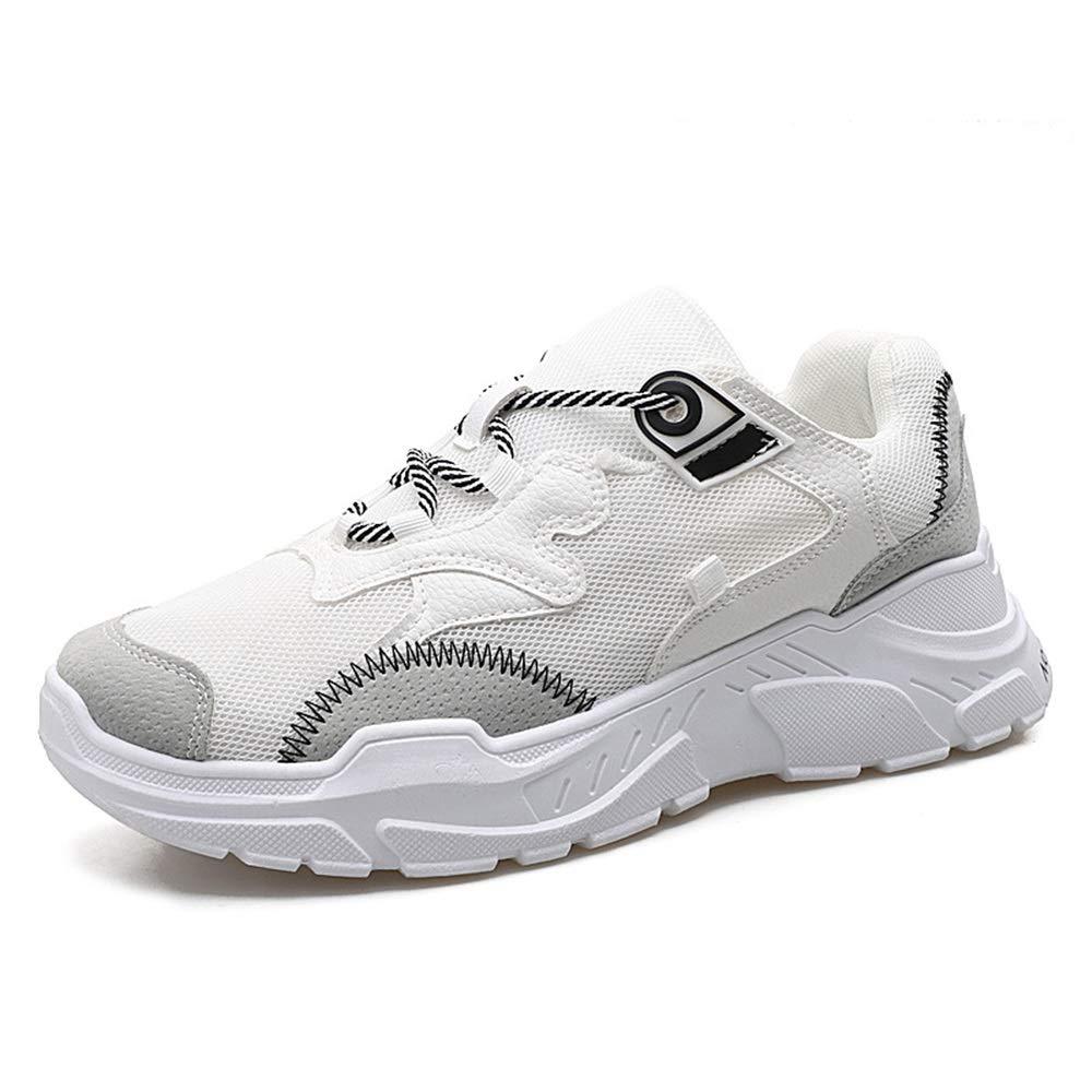 Qiusa Laufschuhe für Männer Freizeitmode Nicht Beleg Breathable Jogging Sportschuhe (Farbe   Weiß, Größe   EU 41)