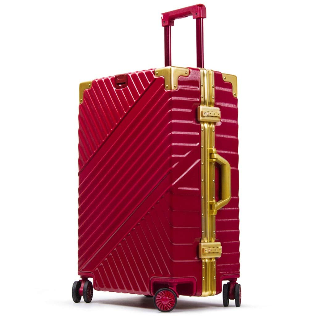 トロリーケース- 学生のアルミニウムフレームのトロリー箱、男女のための普遍的な車輪20/24/26インチのスーツケース (Color : Red, Size : 20in) B07VBXF1YR Red 20in