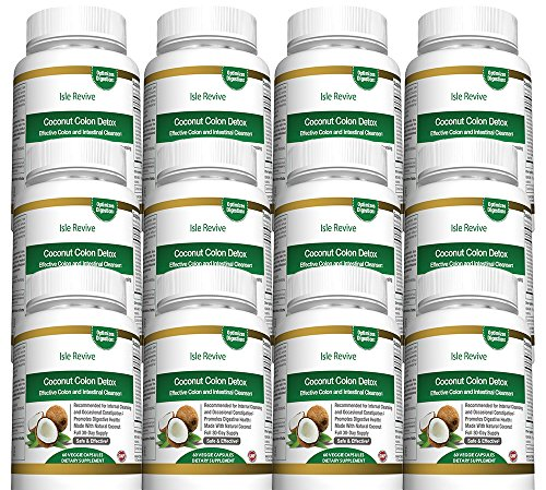 Coconut Colon Detox Cleanse for Weight Loss - with Aloe Psyllium Husk Flax Seed Licorice Root Ginger Best All Natural Healthy Digestive Laxative Constipation Cleanser - 12 Bottles 60 Capsules by Isle Revive