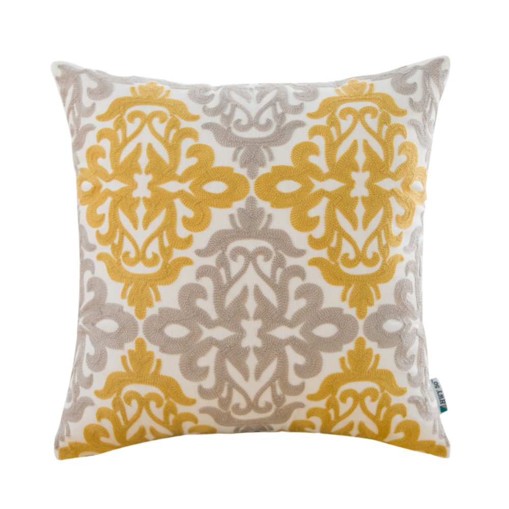 HWY 50 Cotton Decorative Embroidered Throw Pillow Covers for Couch Sofa Bed 18 x 18 inch, 1 Pc Yellow and Grey Throw Pillows Cases, European Design Floral Cushion Covers