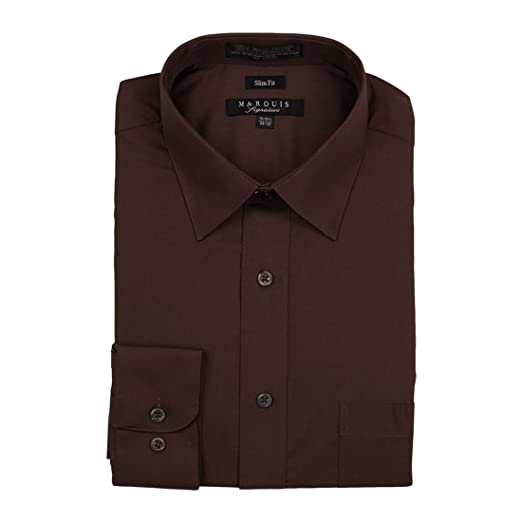 880e000a2abb Marquis Signature Men s Basic Convertible Cuff Slim Fit Dress Shirts  Chocolate Brown (14.5 32-