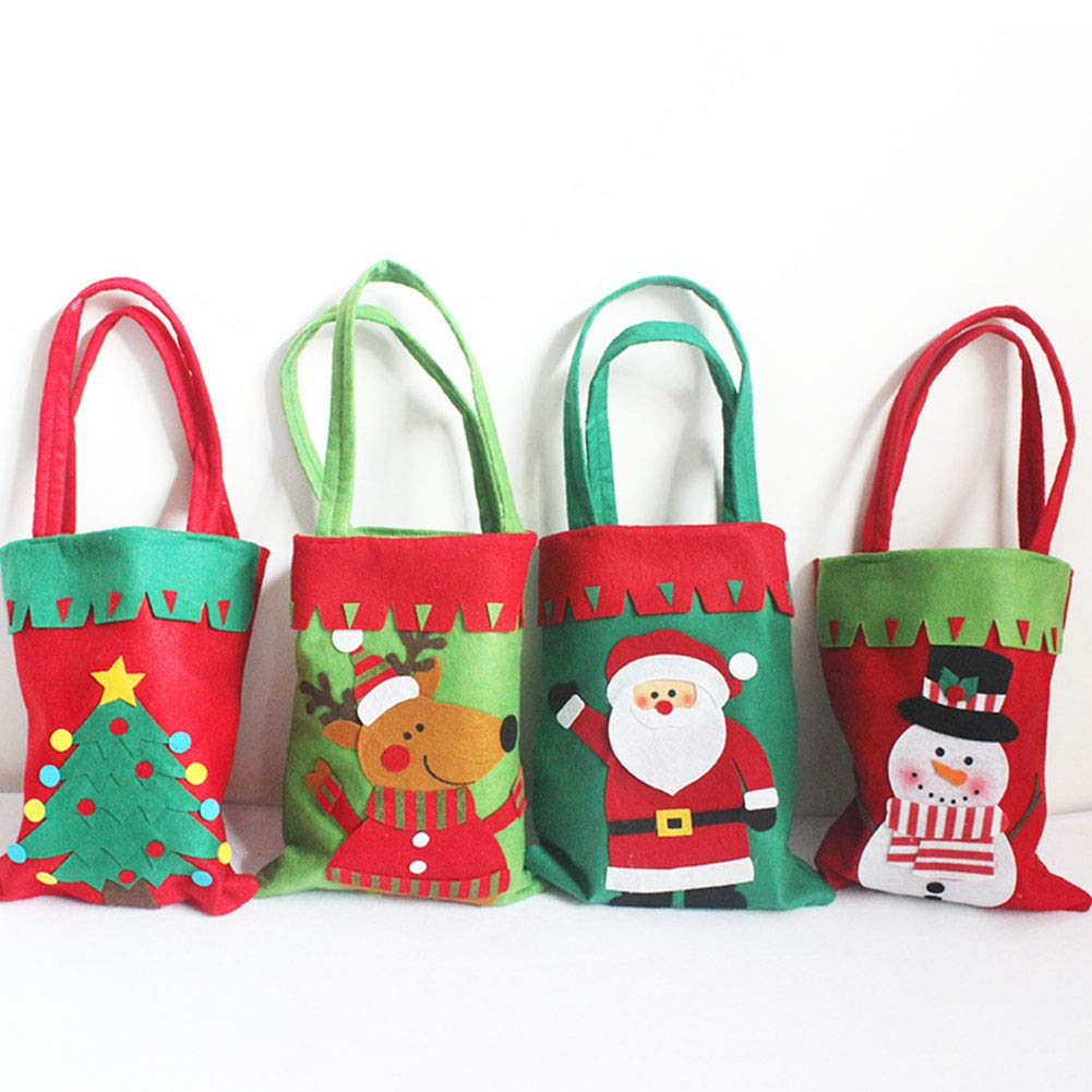YaptheS Christmas Candy Bags Small Handbag Gift Treat Goodie Tote Bag for Kids Children Home Decorations Shopping (Snowman) Christmas Gift by YaptheS (Image #3)