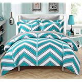 Chic Home 3-Piece Piper Chevron Printed Reversible Duvet Cover Set, King, Aqua