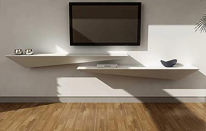 Pareti In Legno Bianco : Mensola design porta tv a muro parete legno laccato bianco