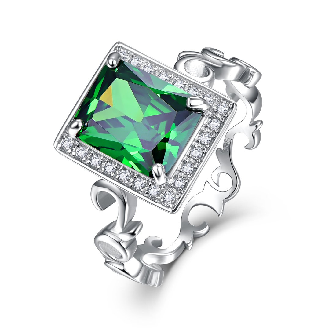Merthus Womens 925 Sterling Silver Created Emerald Floral Band Halo Ring