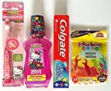 Hello Kitty Toothbrush Home Travel Bundle Kit with Kid's Mouthwash, Colgate Toothpaste, and Dental Floss – 4 PC Set