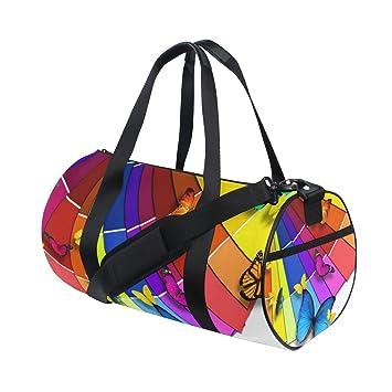 ffcb7864e4 OuLian Duffel Bags Rainbow Wings Womens Gym Yoga Bag Small Fun Sports Bag  for Men
