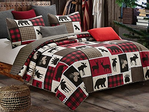 Virah Bella Lodge Life 3pc Full/Queen Quilt Set, Black Bear Paw Moose Cabin Red Buffalo Check Plaid