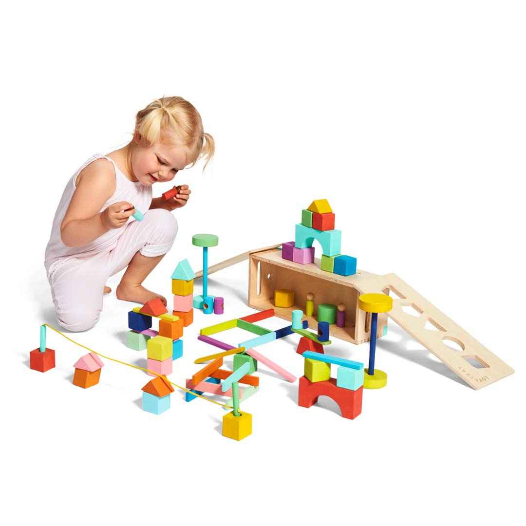 The Block Set by Lovevery – Solid Wood Building Blocks and Shapes + Wooden Storage Box, 70 Pieces, 18 Colors, 20+ Activities