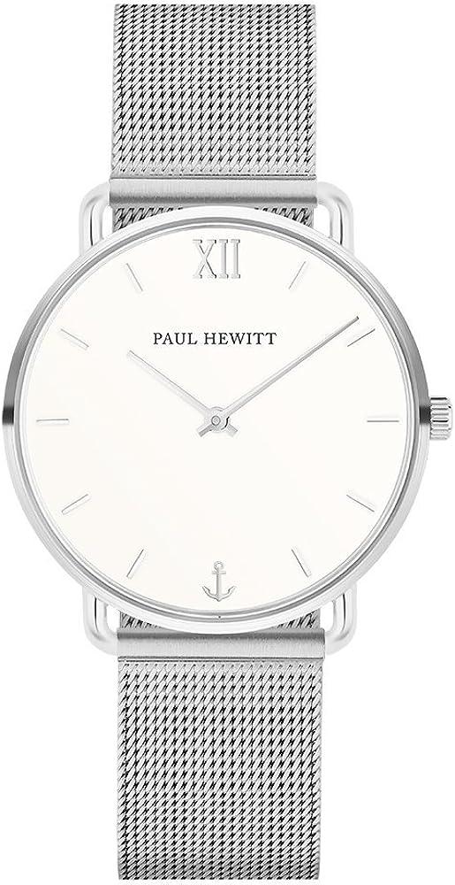PAUL HEWITT Reloj de muñeca para Mujer en Acero Inoxidable Miss Ocean White Sand - Reloj de Pulsera de Acero Inoxidable en Plata, Reloj de muñeca para Mujer con Esfera Blanca