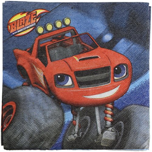 Amscan Daring Blaze & The Monster Machines Birthday Party Beverage Napkin (16 Piece), Red, 5 x (Blaze Monster Truck Costume)