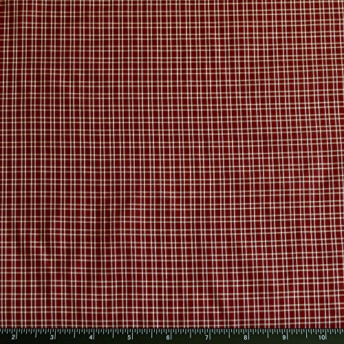 (Burgundy & White Tissue Taffeta Checks, 100% Silk Fabric, By The Yard, 44