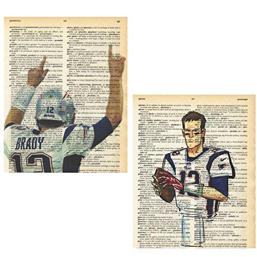 Tom Brady Pictures (New England Patriots Tom Brady photo set of (2) vintage dictionary art prints 8x10)