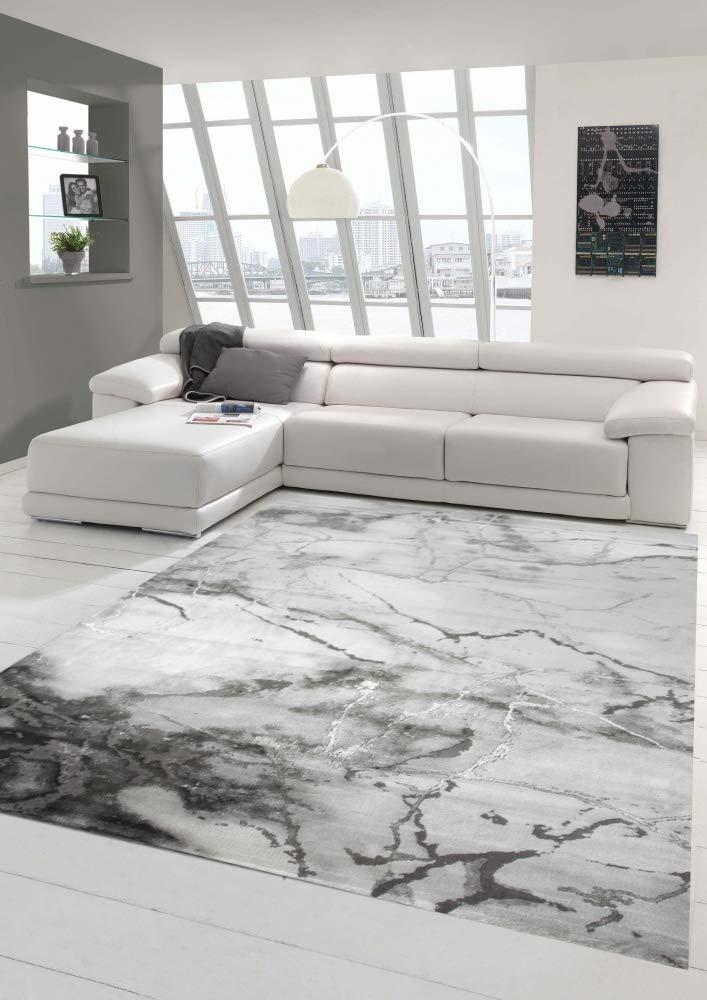 Merinos Marmorteppich mit Glanzfasern in Grau Größe 160x230 cm