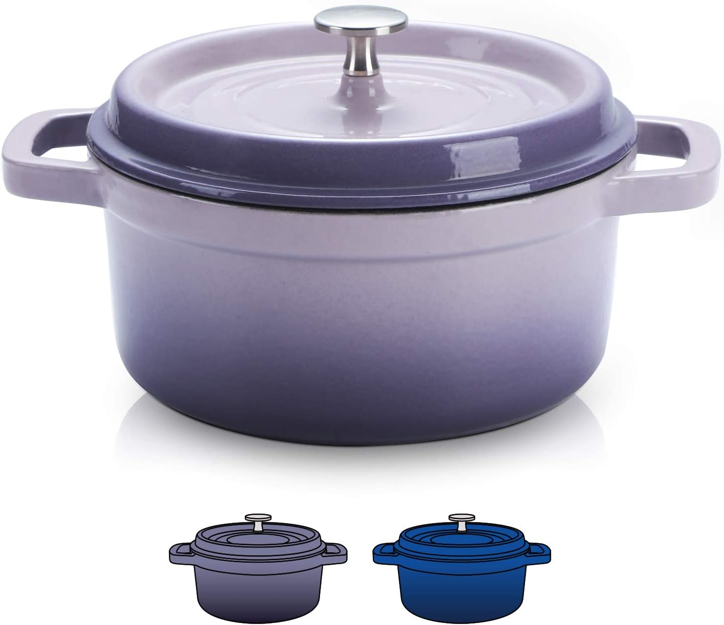 SULIVES Non-Stick Enamel Cast Iron Dutch Oven Pot with Lid Suitable for bread baking use on gas electric oven 5 Quart for 4-6 people(Purple)