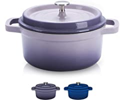 SULIVES Non-Stick Enamel Cast Iron Dutch Oven Pot with Lid Suitable for Bread Baking Use on Gas Electric Oven 3 Quart for 2-3